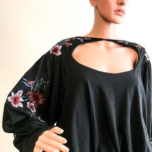 Free People Embroidered Lita Blouse in Black